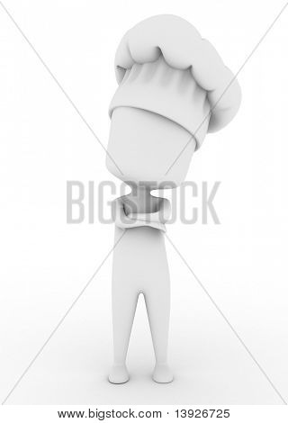 3D Illustration of a Chef Standing with His Arms Crossed
