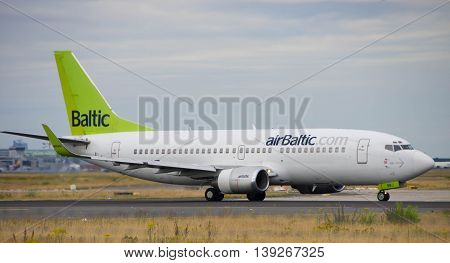 Frankfurt - July 16 2016 : Air Baltic taking off at Frankfurt airport.