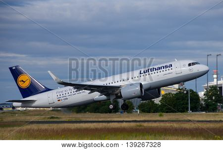 Frankfurt - July 16 2016 : Lufthansa flight taking off at Frankfurt airport.