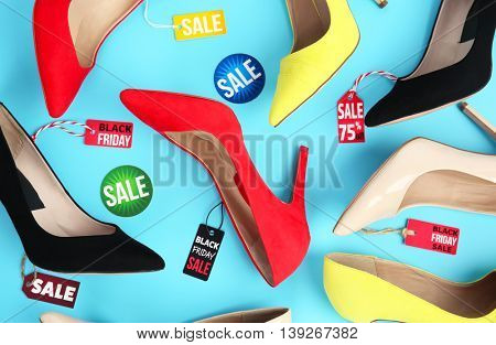Sale concept. Collection of female shoes, flat lay