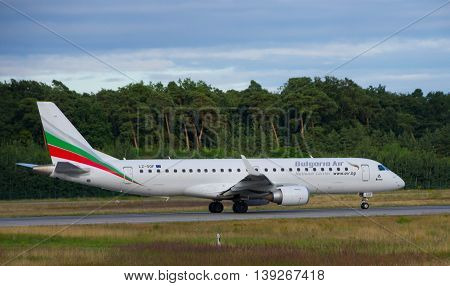 Frankfurt - July 16 2016 : Bulgarian Airlines airplane taking off at Frankfurt airport.
