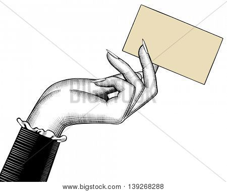 Woman's hand with a visiting card. Vintage engraving stylized drawing. Vector illustration