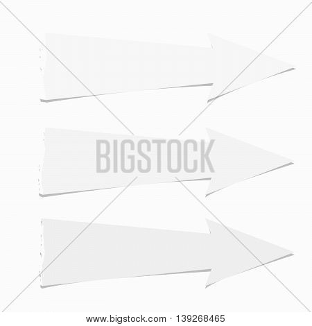 Set of white ripped paper arrows with shadow.