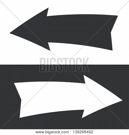 Set of white and black paper arrows.