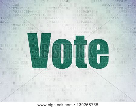 Politics concept: Painted green word Vote on Digital Data Paper background