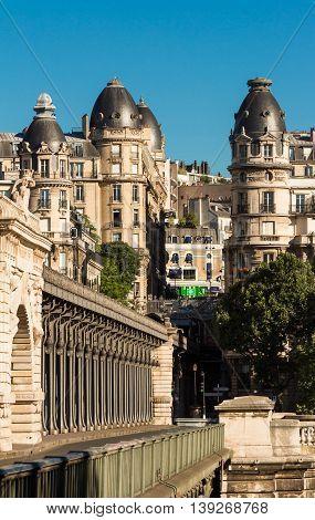 The parisian houses near Bir Hakeim bridge Paris France.