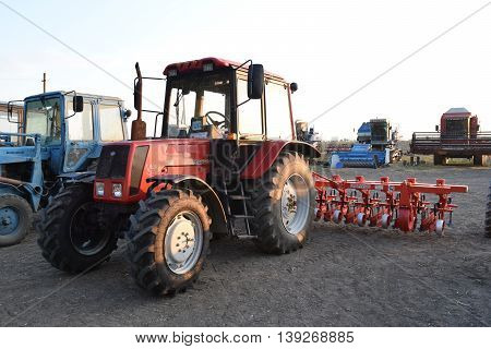 Tractor, Standing In A Row. Agricultural Machinery.