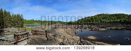 Panoramic View Of A Historic Dam At Naesaaker In Sweden