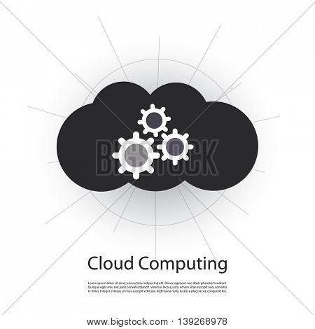 Cloud Computing Concept, Cloud Shaped Logo Design with Cogwheels Inside
