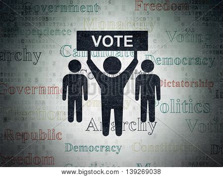 Politics concept: Painted black Election Campaign icon on Digital Data Paper background with  Tag Cloud