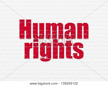 Politics concept: Painted red text Human Rights on White Brick wall background