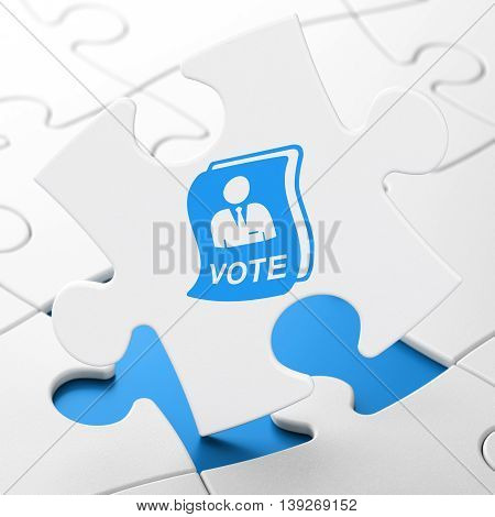 Politics concept: Ballot on White puzzle pieces background, 3D rendering