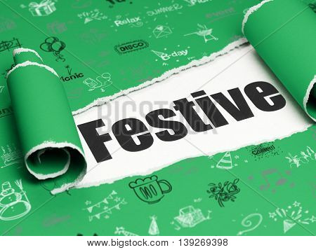 Holiday concept: black text Festive under the curled piece of Green torn paper with  Hand Drawn Holiday Icons, 3D rendering