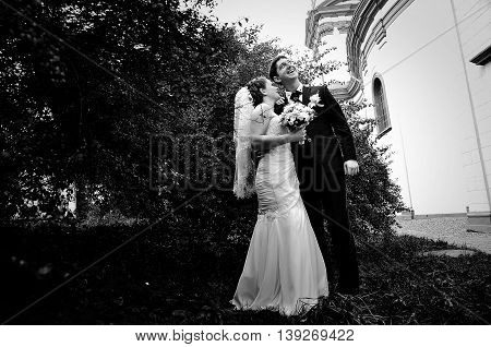 Newlywed Near Bushes. Black And White Photo