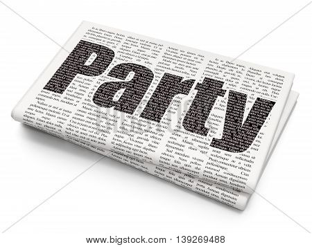 Entertainment, concept: Pixelated black text Party on Newspaper background, 3D rendering