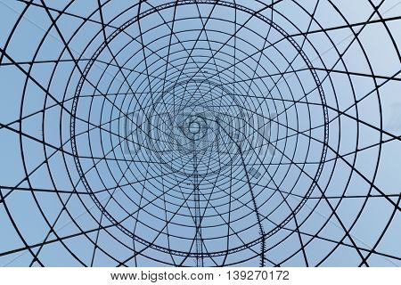 Architectural monument Shukhov Tower - hyperboloid design, made form of supporting steel mesh shell, built in 1920-1922 years by Shukhov project