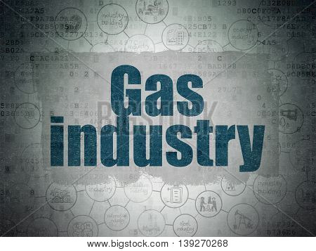 Industry concept: Painted blue text Gas Industry on Digital Data Paper background with  Scheme Of Hand Drawn Industry Icons