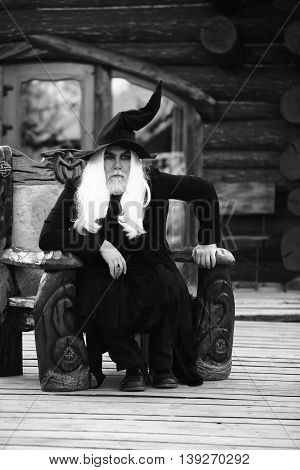 Old Man In Wizard Costume