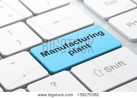 Manufacuring concept: computer keyboard with word Manufacturing Plant, selected focus on enter button background, 3D rendering