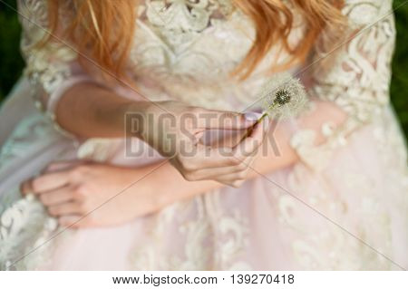 Beautiful hands girls holding the dandelions. On the background of the lace dresses
