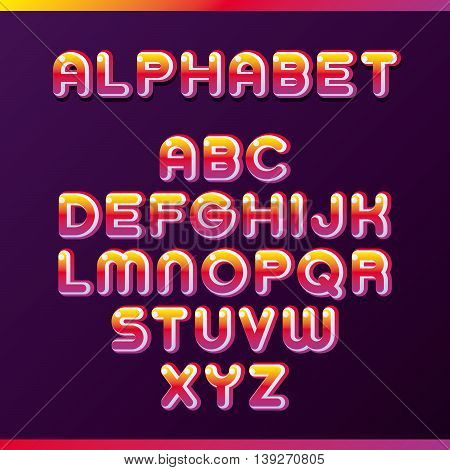Colorful alphabet. Сreative three-dimensional letters. Vector illustration