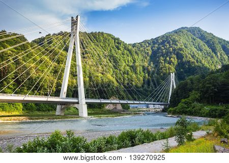 Bridge On The Road From Sochi To Krasnaya Polyana To Olympic Venues