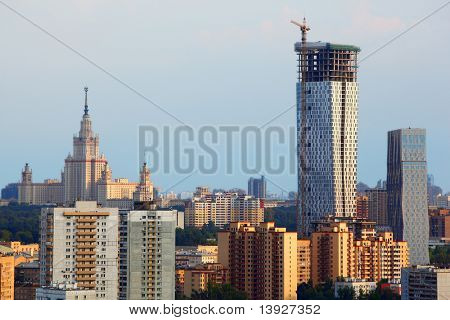 Modern multistory residential construction and MSU in Moscow, Russia