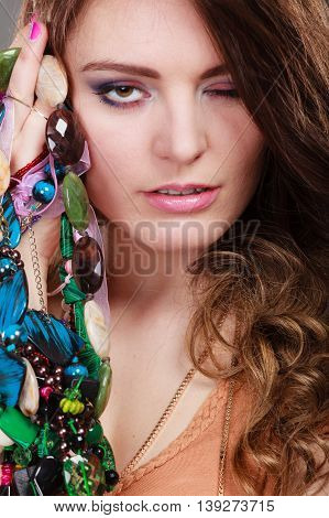 Pretty Woman With Jewelry Necklaces Ring Bracelets