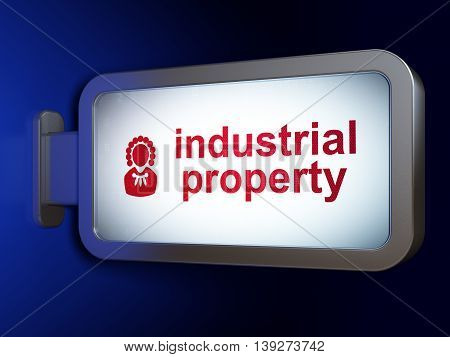 Law concept: Industrial Property and Judge on advertising billboard background, 3D rendering