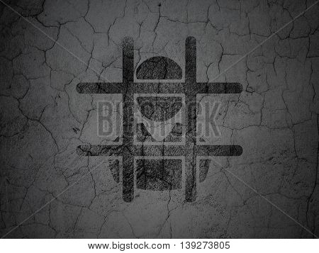 Law concept: Black Criminal on grunge textured concrete wall background