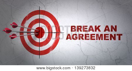 Success law concept: arrows hitting the center of target, Red Break An Agreement on wall background, 3D rendering