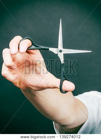 Scissors In Hand Of Barber