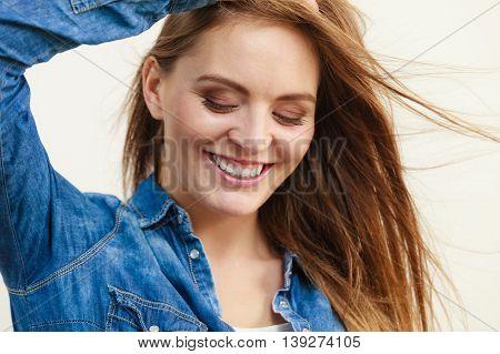 Joyful Fashionable Woman In Denim Shirt
