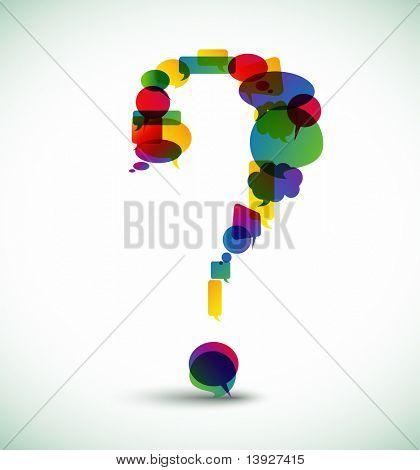 Hergestellt aus bunten Sprechblasen Fragezeichen