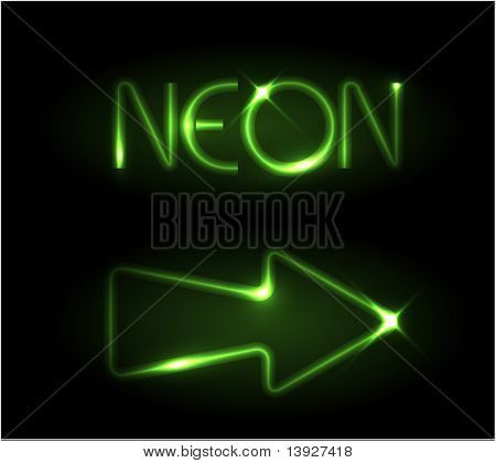 Green neon arrow on a black background