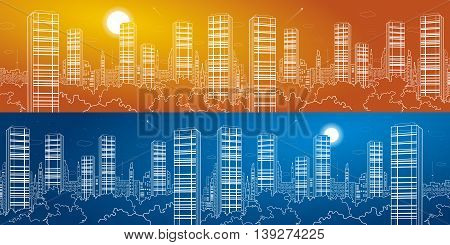 city panorama. Skyscrapers, white lines, urban skyline, neon town, business building, vector design art, day and night