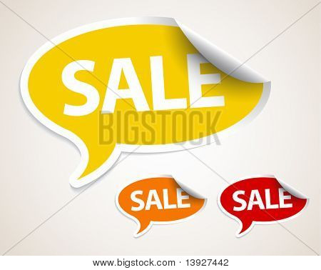 Sale speech bubble as sticker / label with white border - yellow, orange and red