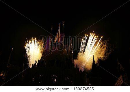 Fireworks over the carousel at magic kingdom. Orlando, Florida.
