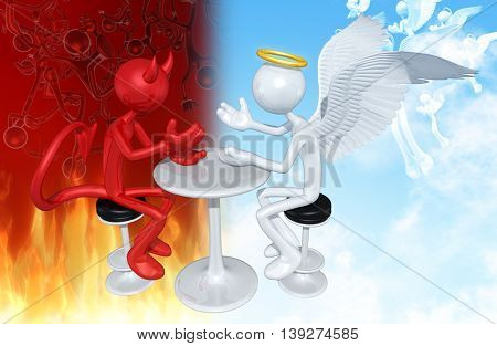 Devil And Angel Having A Conversation 3D Illustration
