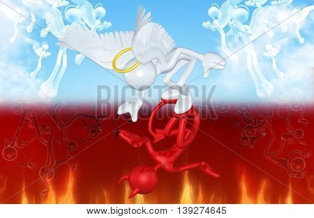 Angel Character With Devil Reflection 3D Illustration