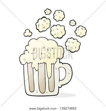 freehand drawn cartoon foamy beer
