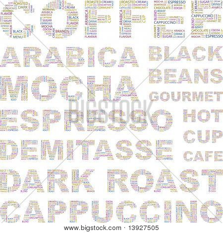 COFFEE. Word collage on white background. Vector illustration. Illustration with different association terms.