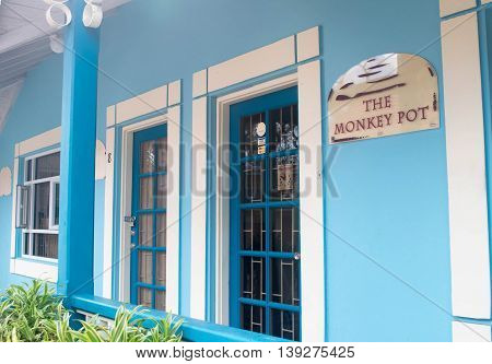 BRIDGETOWN, BARBADOS - NOV 2015 : Shopping district at Pelican Craft Centre, Bridgetown, Barbados. Opened in 1999, this marketplace offers restaurants, crafting demos, jewelry making sessions and such local artisan shops as