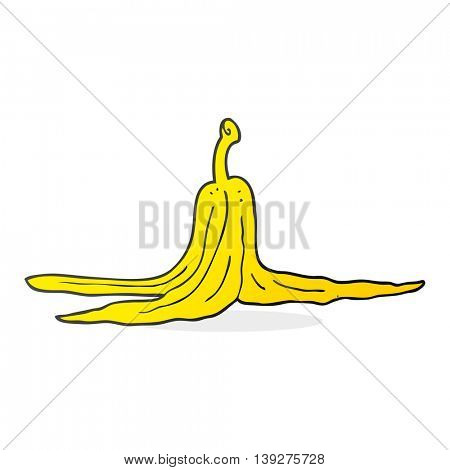 freehand drawn cartoon banana peel