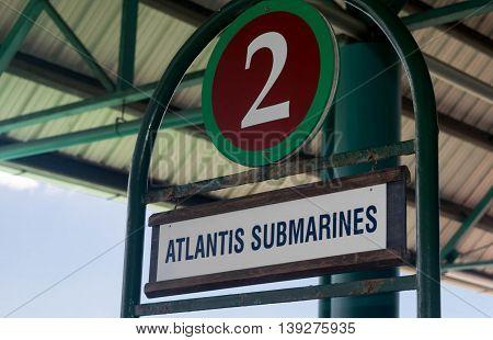 BRIDGETOWN, BARBADOS - NOVEMBER 2015:  Atlantis Submarine waiting area at port entry near Bridgetown, Barbados. Atlantis is a popular tourist attraction  and cruise excursion vehicle.