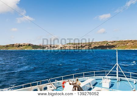 Sailing to port of Mgarr on the small island of Gozo Malta.