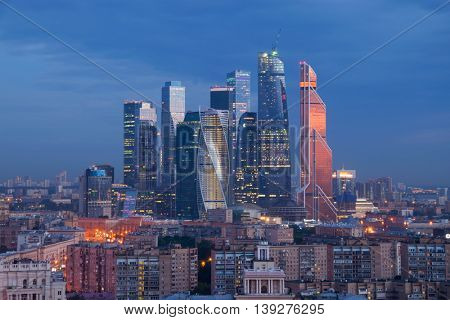 MOSCOW - JUN 11, 2016: Moscow International Business Center in night. Investments in Moscow International Business Center was approximately 12 billion dollars