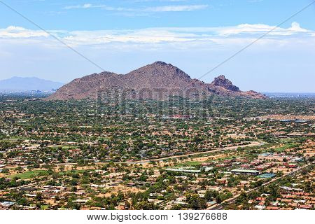Camelback Mountain viewed from above looking towards the southwest