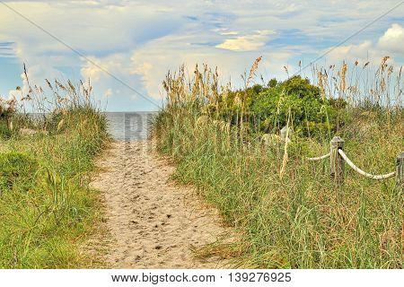 One of the many public beach accesses to Edisto Beach in South Carolina.