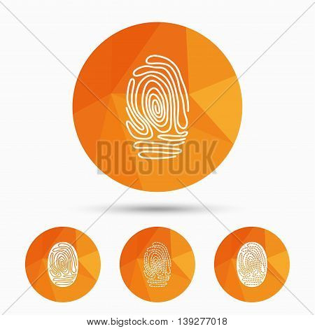 Fingerprint icons. Identification or authentication symbols. Biometric human dabs signs. Triangular low poly buttons with shadow. Vector